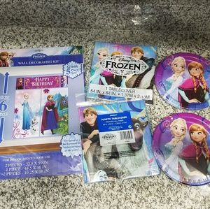 NEW frozen birthday party banner plate tablecloth